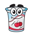Cherry yoghurt milk or cream cartoon character vector image