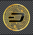 Crypto currency dash golden symbol