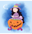 cute cartoon with girl witch vector image