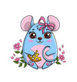 cute funny little cartoon mouse clutching a piece vector image