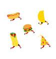 fast food characters hamburger pizza hot dog vector image