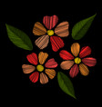 floral embroidery stitches with flowers and vector image vector image
