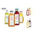 fresh juice realistic glass bottle set with labels vector image