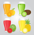 Glasses of Fruits Juice Isolated on Background vector image vector image