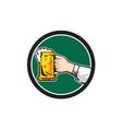 Hand Holding Mug Beer Circle Retro vector image vector image