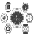 Hand watch black icons set vector image vector image