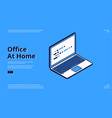 landing page home office with laptop vector image