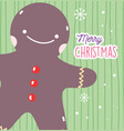 merry christmas celebration gingerbread man vector image vector image