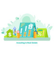 money and percent invest in residential vector image vector image