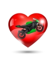 Motorcycle inside red heart vector image vector image