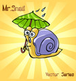 mr snail with umbrella vector image vector image