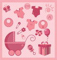 new born baby girl set vector image vector image