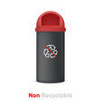 non recyclable black bin with non recycle waste vector image vector image