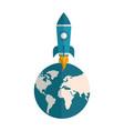 rocket launch startup world success vector image vector image