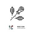 rose icon flower logo line art design vector image