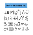 rpg game icons set vector image vector image