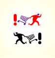 running man pushing shopping cart icon vector image