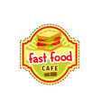 sandwich burger fast food cafe icon vector image vector image
