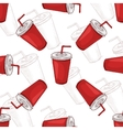 Seamless pattern cola cup scetch and color vector image vector image
