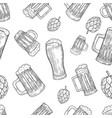 seamless pattern with beer mugs and hop vintage vector image vector image