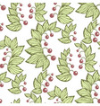 seamless pattern with lily flower plants in green vector image