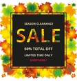 seasonal autumn sales background with colored vector image
