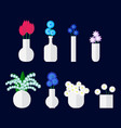 set of bouqet of flower in vase vector image vector image