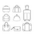 set of women handbags flat linear icon of a vector image vector image