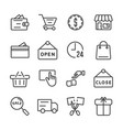 shopping icon set black friday and cyber monday vector image