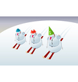 Snowmen on skis vector image
