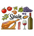 spain traditional food set vintage color vector image vector image