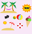 Summer Flat Icon Set vector image