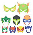 superhero mask set icons in cartoon style big vector image vector image