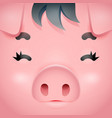 swine cute pig square cartoon character face vector image vector image