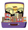 urban city on suitcase vector image vector image