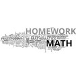 why do math homework text word cloud concept vector image vector image