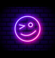 winking face neon icon simple thin line outline vector image