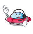 with headphone ufo mascot cartoon style vector image