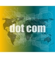 words dot com on digital screen information vector image vector image