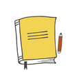 yellow notebook and red pencil vector image vector image