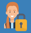 young woman with padlock character vector image