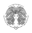 zodiac sign portrait of a woman virgo vector image