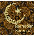 Zentangle stylized Ramadan Kareem greetings gold vector image
