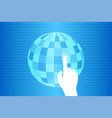 blue technology touch world background vector image