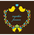 Love Birds With A Wreath vector image