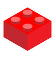 a lego red lego brick block on white background vector image