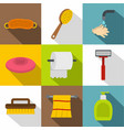 bathroom things icon set flat style vector image vector image