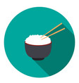 bowl of rice with pair of chopsticks vector image vector image