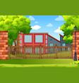 building in park scene vector image vector image