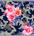 camo military in pink yellow color with pink roses vector image vector image